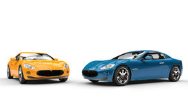 Yellow And Cyan Cars Stock Photography
