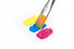Yellow, cyan and magenta colors with paintbrush Royalty Free Stock Photo