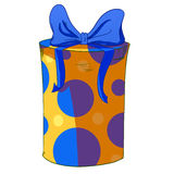 Yellow cylinder gift box with blue bow. Royalty Free Stock Images