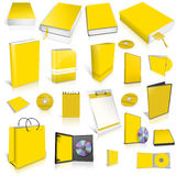Yellow 3d blank cover collection. Isolated Royalty Free Stock Photography