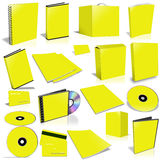 Yellow 3d blank cover collection. Isolated on white Stock Photo