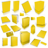 Yellow 3d blank cover collection. Isolated on white Stock Image