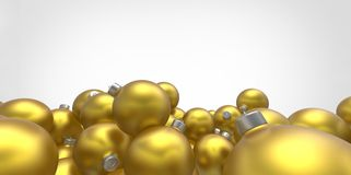 Yellow 3D christmas balls tree globes  on white background Stock Images