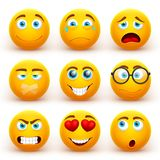 Yellow 3d emoticons vector set. Funny smiley face icons with different expressions stock illustration