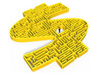 Yellow 3D money shape maze with businessman in center Royalty Free Stock Image
