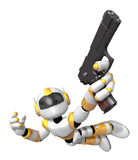 Yellow 3D robot jumping holding an automatic pistol Stock Photo