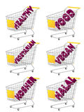 Yellow 3D Shopping Cart Healthy Food Stock Photo