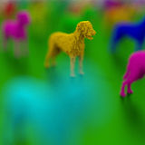 Yellow 3d standing dog illustration. Low poly colorful, pop art style dog illustration Royalty Free Stock Photography