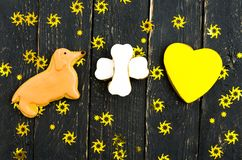 Yellow dachshund plus yellow heart. Stock Photos