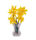 Yellow Daffodils in a Crystal Vase Royalty Free Stock Photos
