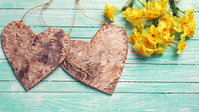 Yellow daffodils flowers  and  two rustic decorative hearts Stock Image