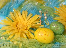 Yellow Daisies with Easter Eggs Royalty Free Stock Images