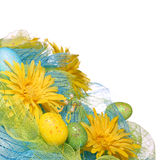 Yellow Daisies with Easter Eggs over white background. Spring Stock Images