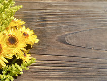 Yellow Daisies Wood Background. Yellow Daisies and wildflowers on the side of a rustic vintage Wood Background, great for a summer outdoor wedding Royalty Free Stock Images