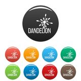 Yellow dandelion logo icons set color vector Royalty Free Stock Photography