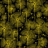 Yellow dandelions flowers seamless pattern Royalty Free Stock Photos