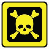 Yellow danger sign with skull Royalty Free Stock Photos