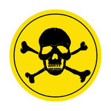 Yellow danger sign with skull. Round danger sign. Royalty Free Stock Image