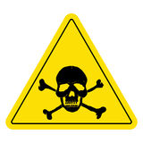 Yellow danger sign with skull. Royalty Free Stock Photo