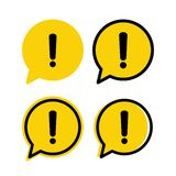 Yellow danger warning attention sign in a speech bubble set. Vector vector illustration