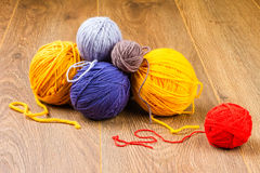 Yellow, dark blue, lilac, brown and red yarn Royalty Free Stock Photography