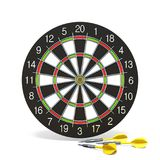 Yellow dart arrows in front of dartboard 3D. Rendering illustration isolated on white background Royalty Free Stock Photography
