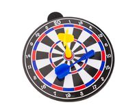 Yellow dart on center dartboard in competition concept Stock Images