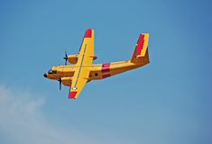 Yellow De havillandDHC-5 Buffalo aircraft. Dhc-5 canadian air forces plane Royalty Free Stock Images