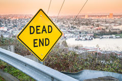 Yellow Dead End sign stock photo