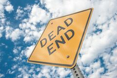Yellow Dead End Sign during Day Time Stock Photos