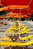 Yellow deckchair. On a beach Royalty Free Stock Image