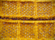 Yellow decorated textile Royalty Free Stock Photos