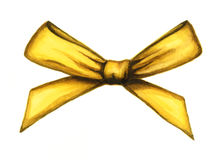 Yellow decorative bow ribbon. Watercolor illustration Royalty Free Stock Images