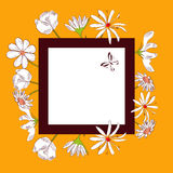 Yellow decorative card with white flowers Royalty Free Stock Photography