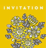 Yellow decorative floral fall card template. flower vector illus Stock Image