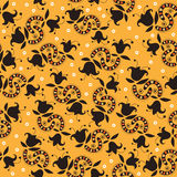 Yellow decorative pattern with dark flowers Stock Photography