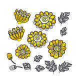 Yellow decorative stylized floral fall element set. Royalty Free Stock Images
