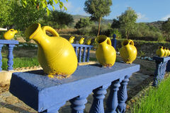 Yellow decoration pots Stock Photos