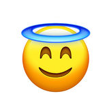 yellow delightful smiley face with angle halo icon. The  yellow delightful smiley face with angle halo icon Royalty Free Stock Photo