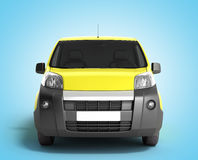 Yellow delivery car in front on a gradient background 3D illustr Royalty Free Stock Photos