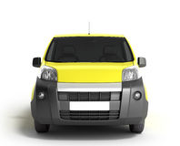 Yellow delivery car in front on a white background 3D illustrati Stock Image