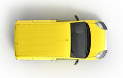 Yellow delivery car in top on a white background 3D illustration Stock Images