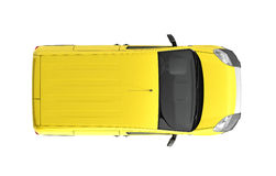 Yellow delivery car in top on a white background 3D illustration Royalty Free Stock Photography