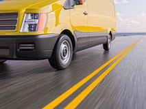 Yellow Delivery Commercial Van Motion Blurred 3d Illustration Royalty Free Stock Photos