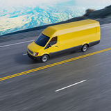 Yellow Delivery Commercial Van on Mountain Road Motion Blurred 3d Illustration Stock Photo