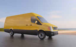 Yellow Delivery Van on Coastal Road Motion Blurred 3d Illustration Stock Images