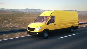 Yellow delivery van driving along a desert road into the sunset. A yellow delivery van drives along a desert highway into the sunset. Realistic high quality 3d stock footage