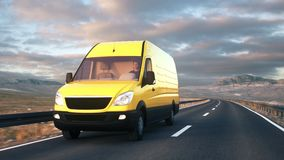 Yellow delivery van driving along a desert road into the sunset. A yellow delivery van drives along a desert highway into the sunset. Realistic high quality 3d stock video footage
