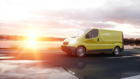 Yellow delivery van on highway. Very fast driving. Transport and logistic concept. 3d rendering. Stock Photos