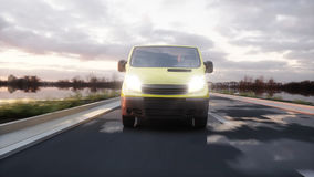 Yellow delivery van on highway. Very fast driving. Transport and logistic concept. 3d rendering. Royalty Free Stock Photos
